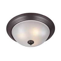 Signature Energy Efficient 3 Light 16 inch Oil Rubbed Bronze Flush Mount Ceiling Light in Frosted