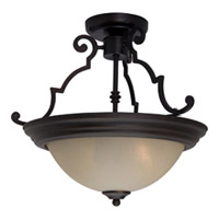 Essentials Energy Efficient 2 Light 17 inch Oil Rubbed Bronze Semi Flush Mount Ceiling Light in Wilshire