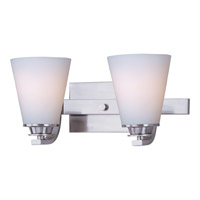 Conical 2 Light 13 inch Satin Nickel Bath Light Wall Light in 13 in.