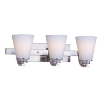 Conical 3 Light 19 inch Satin Nickel Bath Light Wall Light in 19 in.