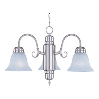Maxim 91196MRSN Builder Basics 3 Light 21 inch Satin Nickel Mini Chandelier Ceiling Light in Marble photo thumbnail