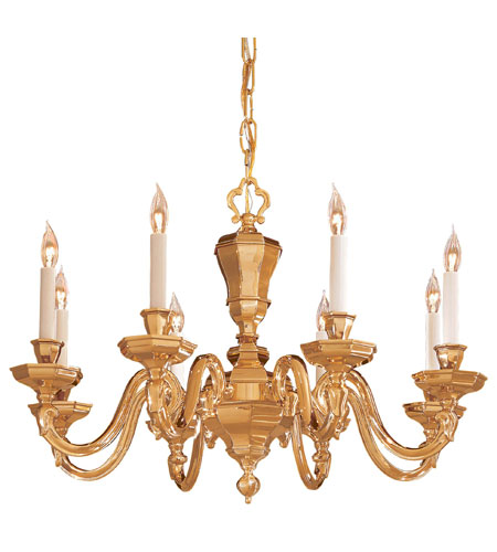 Metropolitan Signature 8 Light Chandelier in Polished Brass N1115 photo