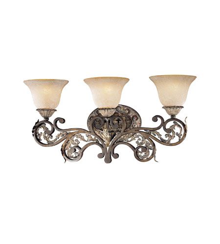 Metropolitan Jessica Mcclintock Home Romance 3 Light Bath Fixture in Ravello Bronze3 w/Gold Highlights N2023-198 photo