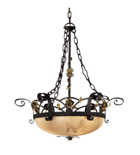 Metropolitan Signature 3 Light Chandelier in Black Forest w/Gold Leaf Highlights  N5006-302 photo