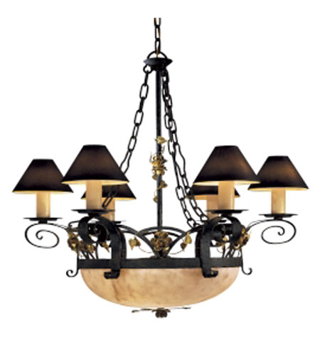 Metropolitan Signature 9 Light Chandelier in Black Forest w/Gold Leaf Highlight  (shade sold separately) N5009-302 photo