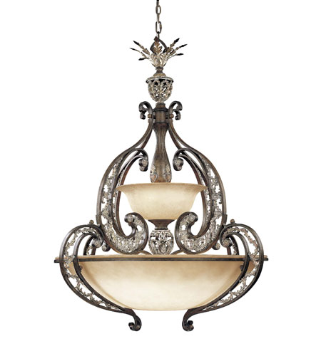Metropolitan Jessica Mcclintock Home Romance 6 + 3 Light Pendant in Ravello Bronze w/Gold Highlights N6014-198 photo