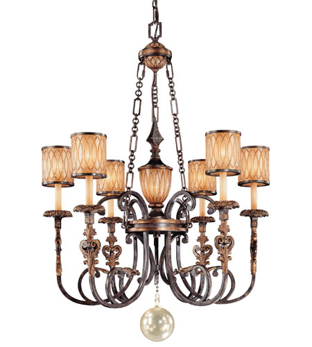 Metropolitan Terraza Villa 6 + 1 Light Chandelier in Terraza Villa Aged Patina w/ Gold Leaf Accents N6496-270 photo