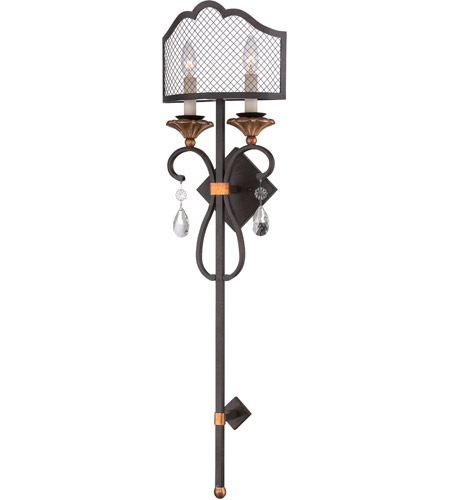 Metropolitan N7102 258b Cortona 2 Light 11 Inch French Bronze With Gold Highlights Wall Torchiere