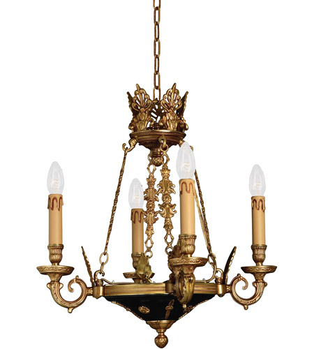 Metropolitan N850204 Signature 4 Light 19 inch Dore Gold w/ Black Accents Chandelier Ceiling Light photo