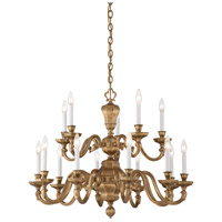 Casoria 15 Light 33 inch Vintage English Patina Chandelier Ceiling Light