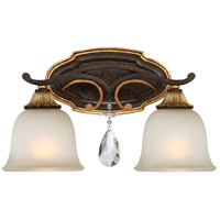 Chateau Nobles 2 Light 16 inch Raven Bronze/Sunburst Gold Bath Bar Wall Light