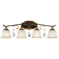 Chateau Nobles 4 Light 33 inch Raven Bronze/Sunburst Gold Bath Bar Wall Light