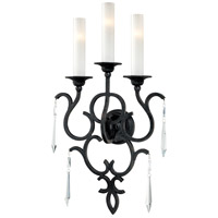 Metropolitan Castellina  3 Light Sconce in Aged Iron  and White Iris Glass N1703-254