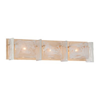 Metropolitan Arctic Frost 3 Light Bath Bar in Antique French Gold N1783-595
