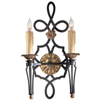 Montparnasse 2 Light 12 inch French Black/Gold Leaf Wall Sconce Wall Light