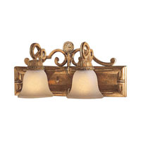 Metropolitan Pamplona 2 Light Bath in Aged Wood w/Gold Highlights N2132-34