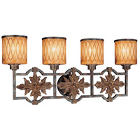Terraza Villa 4 Light 32 inch Terraza Villa Aged Patina w/ Gold Leaf Accents Bath Wall Light