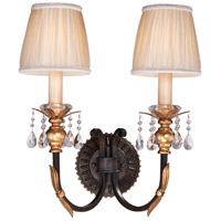 Bella Cristallo 2 Light 16 inch French Bronze/Gold Wall Sconce Wall Light