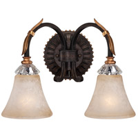 Bella Cristallo 2 Light 16 inch French Bronze/Gold Bath Bar Wall Light