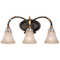 Bella Cristallo 3 Light 24 inch French Bronze/Gold Bath Bar Wall Light