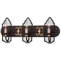 Cortona 3 Light 24 inch French Bronze/Gold Bath Bar Wall Light