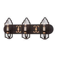 Metropolitan Cortona 3 Light Bath Bar in French Bronze with Gold Highlights N2713-258B