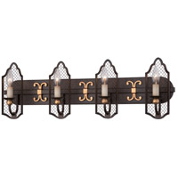 Cortona 4 Light 31 inch French Bronze/Gold Bath Bar Wall Light