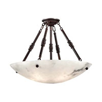 Signature 5 Light 28 inch Bronze Patina Semi Flush Ceiling Light