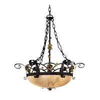 Metropolitan Signature 3 Light Chandelier in Black Forest w/Gold Leaf Highlights  N5006-302