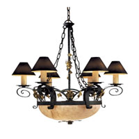 Metropolitan Signature 9 Light Chandelier in Black Forest w/Gold Leaf Highlight  (shade sold separately) N5009-302