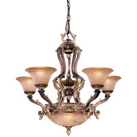 Metropolitan Mariner Metropolitan 7 Light Chandelier in Iberian Bronze w/Gold Accents N6026-187