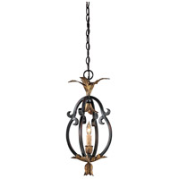 Montparnasse 1 Light 9 inch French Black/Gold Leaf Mini Pendant Ceiling Light