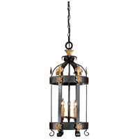 Montparnasse 3 Light 12 inch French Black/Gold Leaf Pendant Ceiling Light