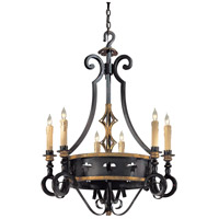 Montparnasse 6 Light 30 inch French Black/Gold Leaf Chandelier Ceiling Light