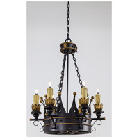 Metropolitan Montparnasse French Black 6 + 3 Light Chandelier in French Black w/Gold Highlights N6108-20