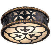 Montparnasse 2 Light 16 inch French Black with Gold Leaf Highlights Flush Mount Ceiling Light