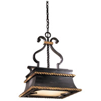 Montparnasse 3 Light 17 inch French Black/Gold Leaf Pendant Ceiling Light