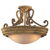 Metropolitan Pamplona 3 Light Semi Flush in Aged Wood w/Gold Highlights N6147-34