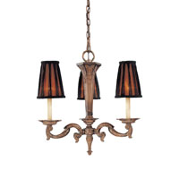 Metropolitan Mariner 3 Light Chandelier in Amaretto Patina w/Silver Highlights N6183-473 photo thumbnail