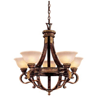 Metropolitan Catalonia II  5 Light Chandelier in Aged Walnut w/Gold Leaf Highlights N6205-488
