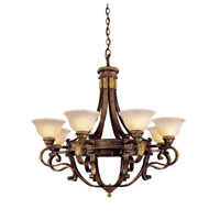 Metropolitan Catalonia II 8 Light Chandelier in Aged Walnut w/Gold Leaf Highlights N6208-488
