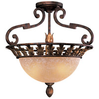 Zaragoza 3 Light 20 inch Golden Bronze Semi Flush Mount Ceiling Light