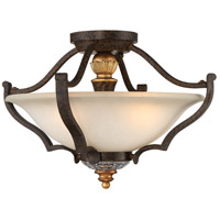Chateau Nobles 3 Light 17 inch Raven Bronze with Sunburst Gold Highlights Semi-Flush Mount Ceiling Light