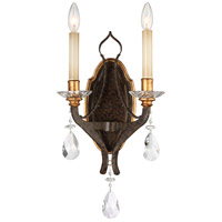 Metropolitan Chateau Nobles 2 Light Wall Sconce in Raven Bronze W/Sunburst Gold N6452-652