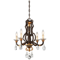 Metropolitan N6454-652 Chateau Nobles 4 Light 21 inch Raven Bronze with Sunburst Gold Highlights Mini Chandelier Ceiling Light