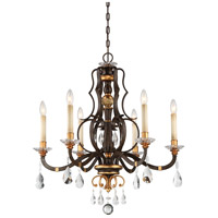 Chateau Nobles 6 Light 28 inch Raven Bronze W/Sunburst Gold Chandelier Ceiling Light