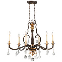 Chateau Nobles 6 Light 40 inch Raven Bronze with Sunburst Gold Highlights Island Light Ceiling Light