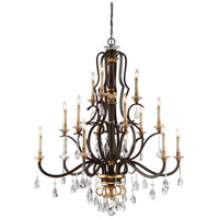 Chateau Nobles 15 Light 46 inch Raven Bronze/Sunburst Gold Chandelier Ceiling Light