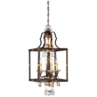 Chateau Nobles 4 Light 14 inch Raven Bronze/Sunburst Gold Pendant Ceiling Light