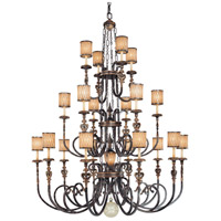 Terraza Villa 21 Light 68 inch Terraza Village Aged Patina/Gold Leaf Chandelier Ceiling Light